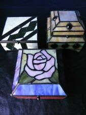 LOT 3 PC SET 19c Victorian CARVED Tiffany Glass jewelry box AMULET antique BULK