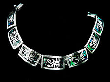 Taxco Sterling Silver and Abalone Aztec Design Bracelet