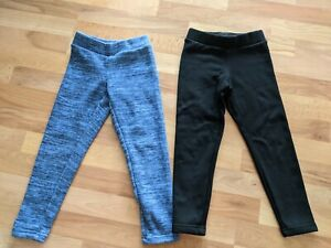 Set Of 2 Old Navy Cozy Warm Lined Leggings Blue Marled Black Girls Small (6-7)
