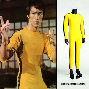 Bruce Lee Martial Arts Jumpsuit Yellow Sportswear Death Of Game Battle Suit New