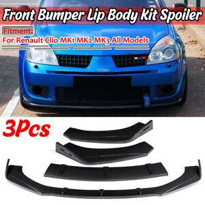 For Renault Clio MK2 MK3 Front Bumper Chin Spoiler Lip Valance Splitter CARBON