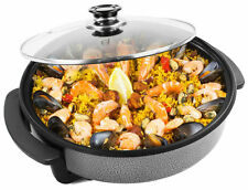 30CM ELECTRIC PIZZA PAN COOKER GLASS LID COOK PAELLA MULTI FRYER NON STICK PLATE