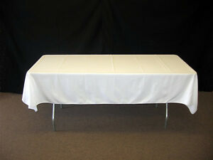 White Rectangle Table Polyester Fabric Tablecloth For Catering Party Event