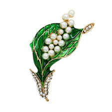 Fashion Green Enamel Brooches Simulated Pearl Pins for Costume Dress Decor n