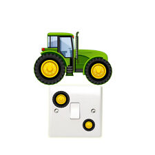 Green Tractor Light Switch Wall Sticker Children's Bedroom Tractors Farm Vehicle
