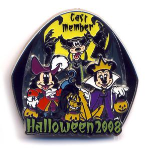 Disney Cast Minnie Evil Queen Mickey Captain Hook Fab 4 Halloween 2008 LE Pin