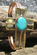 Cowgirl Gypsy Boho Tri Toned Metal Cross Bangle Bracelet w/ Faux Turquoise
