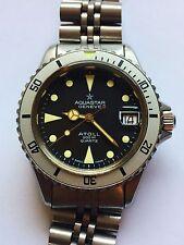 AQUASTAR ATOLL Gilt Dial Midsize 200m Diver Vintage Quartz Watch SERVICED