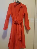 marks and spencer autograph red / orange midi shirt dress  party long sleeve 12