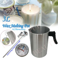 3L Wax Melting Pot Pouring Pitcher Jug Aluminium Candle Soap Make W/Thermometer