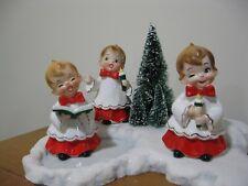 Vintage Josef Originals Figurine Japan Christmas Boys Carolers Kitschy
