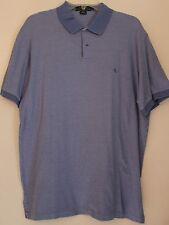 """Ralph Lauren """"Lauren"""" Mens Knit Polo L Solid Blue 100% Cotton Short Sleeve"""