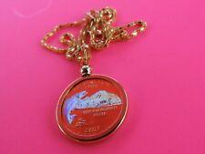 "2007 Gold Hologram Washington FISH Quarter Pendant & 17"" Necklace Handmade USA"