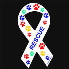 Multicolor Paw Print Rescue Ribbon Magnet