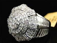 New Mens White Gold Iced Out Round Diamond 3D Ice out XL Pinky Band Ring 2 Ct