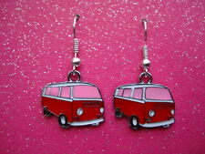 FUNKY PINK VW CAMPER VAN EARRINGS CUTE RETRO KITSCH COOL DUDE SURFER NOVELTY