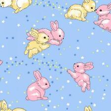 Fat Quarter Rabbits Blue Minkey Minkie Cotton Quilting Fabric 50 x 70cm