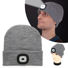 Unisex Gray Beanies Hat With LED Head Light Torch USB Rechargeable Knitted Baggy