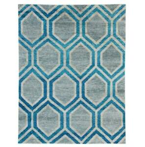 5x7 young decor blue gray hand Knotted Transitional Modern Rug B-75252