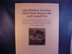 1965 Pontiac full-size factory cost/dealer sticker prices for car + options $$