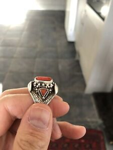 Large Tibetan Sterling Silver & Coral Ring