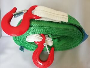 PRO 4x4 RECOVERY WINCH/TOW/TOWING STRAP STROP ROPE 4M HEAVY DUTY HOOKS 8 TON