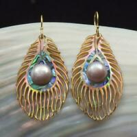 Multicolor Paua Abalone Shell Carving & Pearl Peacock Feather Earrings 11.00 g