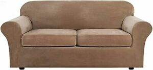 Velvet Plush Stretch Sofa Cover Couch Cushion with Bottom Protector Slipcover