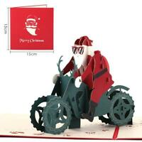 Cartes de Noël 3D Up Cadeau de bénédiction Santa Claus Riding Moto Cards