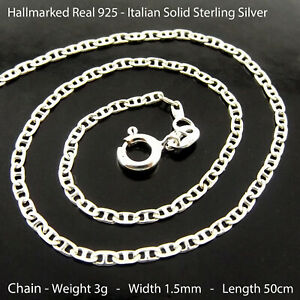 Necklace Real Hallmarked 925 Solid Sterling Silver Ladies Pendant Chain 50cm