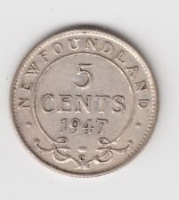 1947 Newfoundland Five Cents Silver Coin