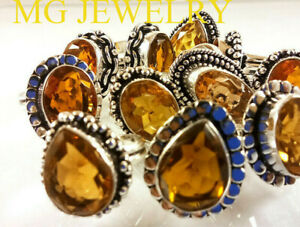 5 PCs Lot Natural Citrine Gemstone .925 Sterling Silver Overlay Rings