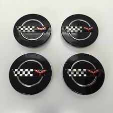 "4 Black C4 wheel center caps fits: Chevy Corvette Camaro 91-96 ZR1 C4 3"" rim hub"