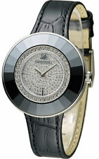 Swarovski Octea Dressy Full Pave Dial Black Leather Watch 5080506
