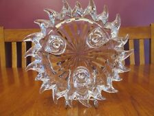 Heavy Crystal Celestial Sun Shaped Triple Taper Candle Holder Centerpiece