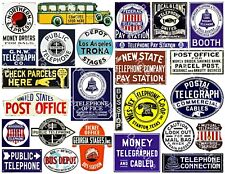 Telephone, Telegraph & Bus Stop Travel Signs, Junk Journal Scrapbook, 1 Sheet