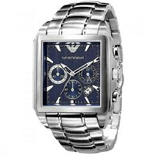 NIB Emporio Armani Chronograph Square Blue Dial Men's Watch 42mm AR0660