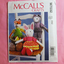 McCall's M7032 7032 Crafts 3 Designs Bunny, Cat, Fox Cloth Doll Sewing Pattern