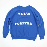Vtg 80s Zetas Forever Sorority Raglan Sweatshirt Womens M? Faded Blue College
