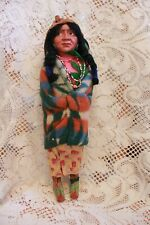 """Antique Indian Skookum Bully Good Doll with Papoose Original Label 14"""""""