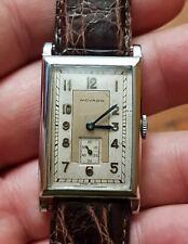 Vintage Movado Art Deco Rectangular Watch 1938-1940 Oversize