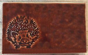 Handmade tile, Hedgehog (L) design - Chestnut colour, SC Brick, made in  U.K.