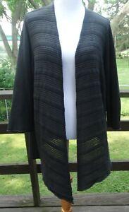 EILEEN FISHER Plus 2X, 3/4 thin semi sheer knit open front cardigan, silk blend