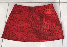 Just Cavalli Mini Skirt Red Leopard Print Signature