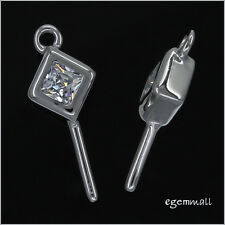 1PC Sterling Silver CZ Rhombus Pendant Connector Bail #97258