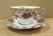Ucagco Vintage China Cup & Saucer Hand Painted Japan Pink Flowers & Gold Trim