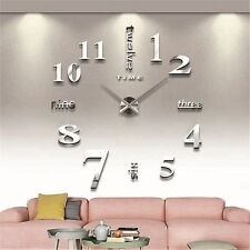 Modern Large 3D Wall Clock Numbers Letters DIY 3D Stickers Clock Office Home