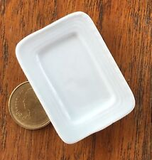 1:12 Scale White Ceramic Serving Plate 5cm x 3.7cm Tumdee Dolls House W109