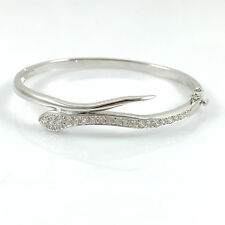 "925 Sterling Silver Ladies Bangle Bracelet Hinged Snake Hallmarked 7.5"" Heavy"