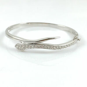 "925 Sterling Silver Ladies Bangle Bracelet Hinged Snake Hallmarked 7.5"" Heavy"